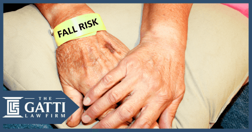 elderly nursing home patient with a fall risk bracelet